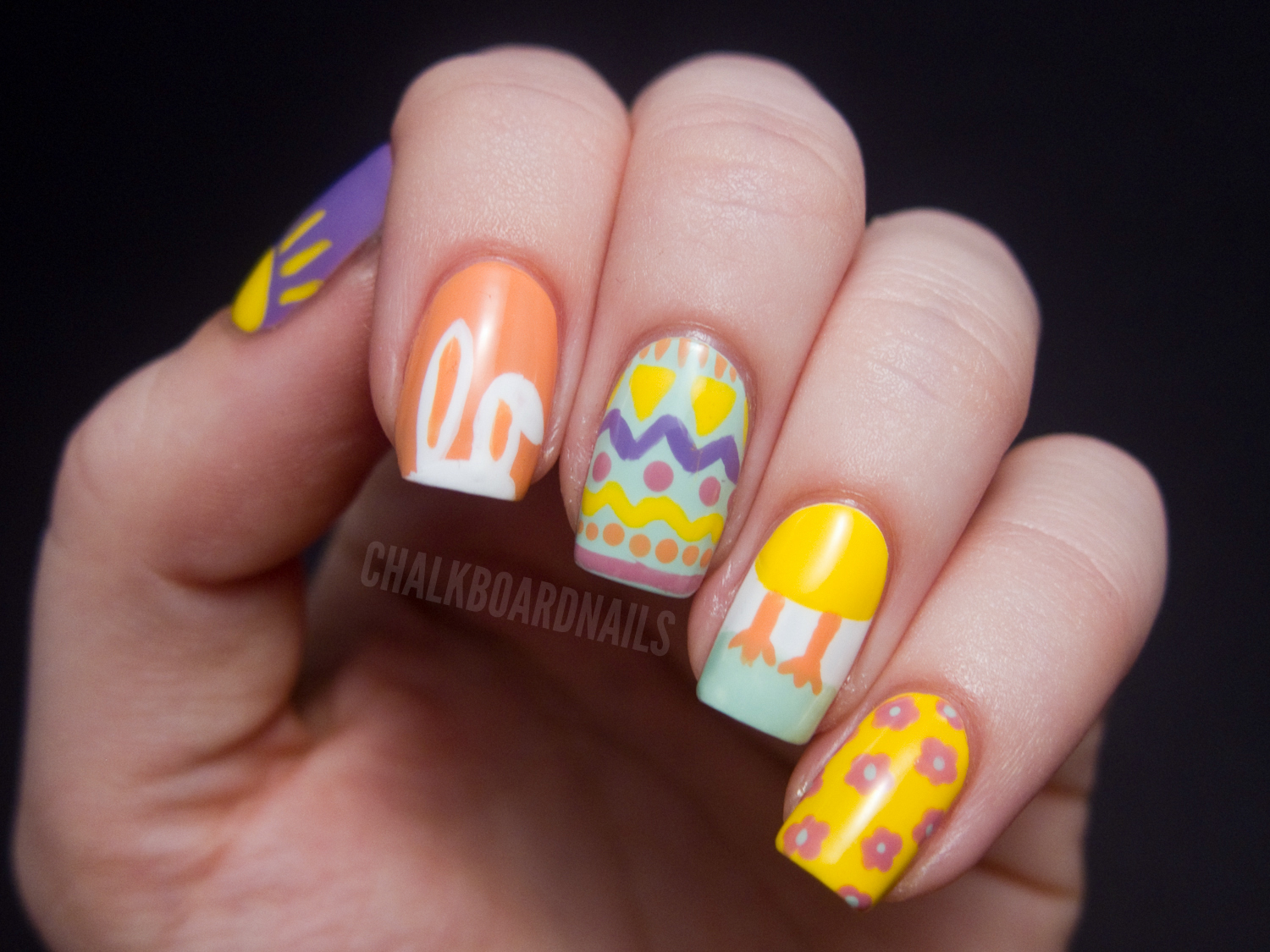 Easter Mix Up | Chalkboard Nails | Nail Art Blog