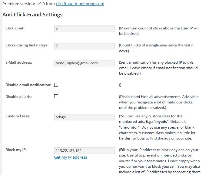 Bảo vệ tài khoản Adsense (GA) với plugin Click Fraud Monitoring