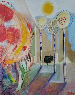 collage, mixed media, art, autumn, Bee Skelton artist,