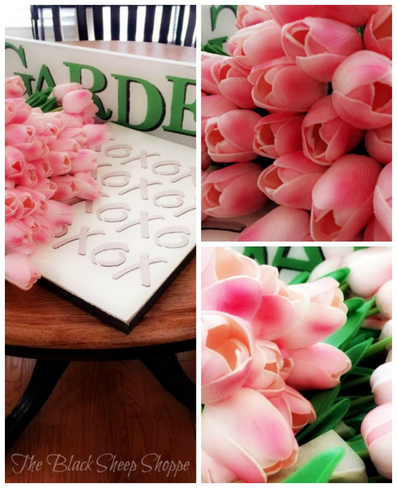 Tulips and hand made signs.