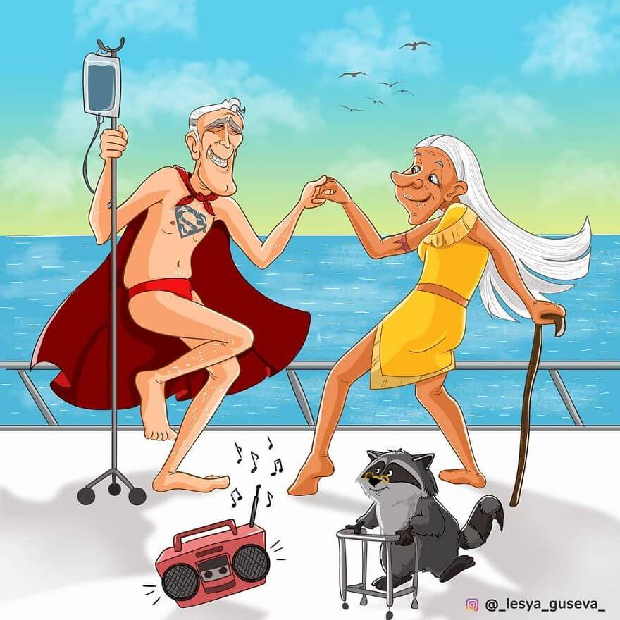 15 Beautiful Illustrations Of Popular Cartoons And Comic Characters In Old Age - Superman, Pocahontas And Meeko