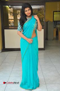 Telugu Actress Alekhya Stills in Green Saree at Swachh Hyderabad Cricket Press Meet  0098.JPG