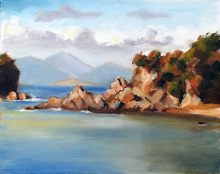 Oil painting of a rocky shoreline with distant water and mountains.