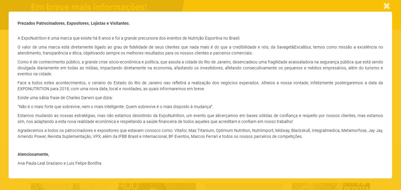 Comunicado do adiamento da 9ª edição da ExpoNutrition. Foto: Reprodução