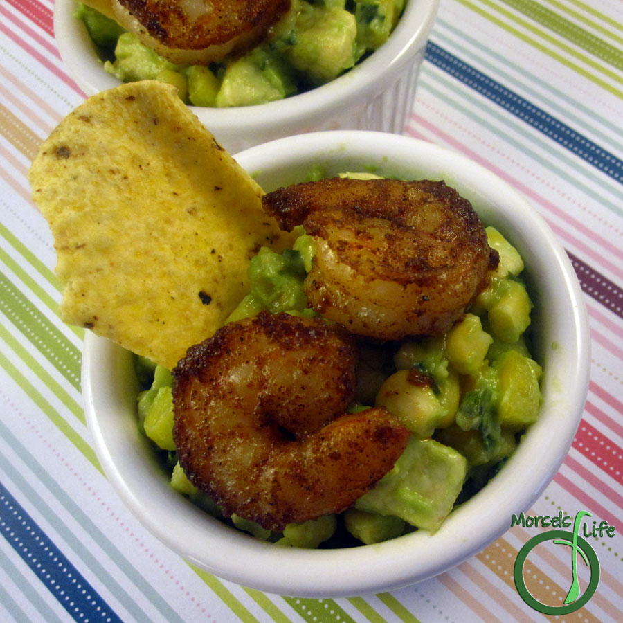 Morsels of Life - Cajun Shrimp Guacamole - Avocado, onions, and bell pepper combined with Cajun seasoned shrimp for one mighty tasty Cajun shrimp guacamole.