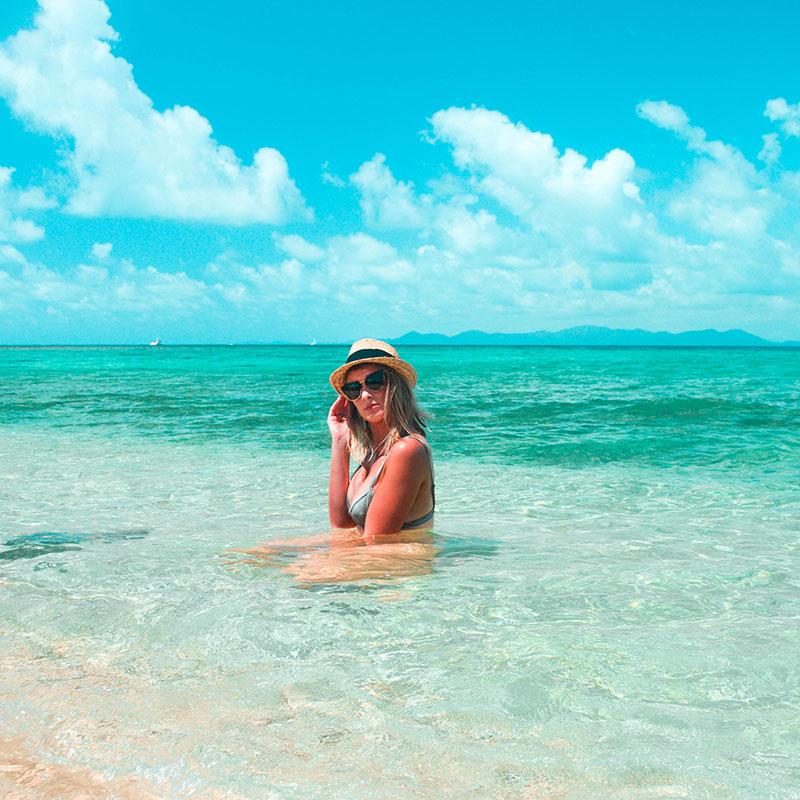 girl in tropical far north queensland ocean frankland islands