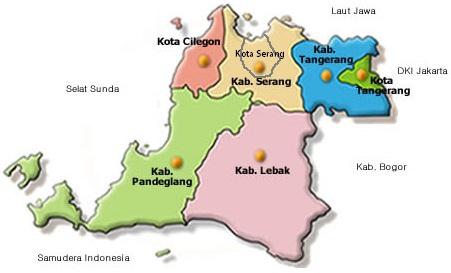 Peta kabupaten dan kota di  Provinsi Banten