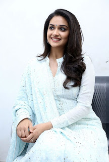Keerthy Suresh in White Dress with Cute and Awesome Lovely Smile at Mahanati Promotions 5