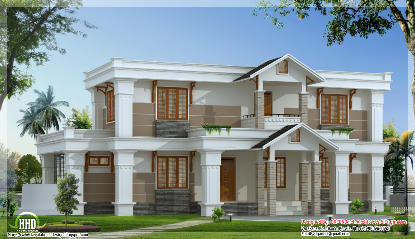 Modern mix sloping roof home design 2650 for Sloped roof house plans in india