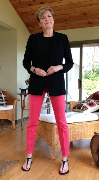 Pink Elie Tahari pants, black Rag and Bone silk tank, Helmut Lang blazer