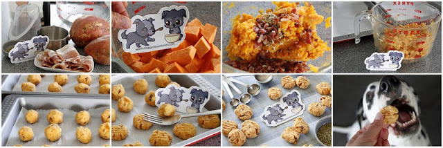 Step-by-step making homemade dog treats with kumara and bacon
