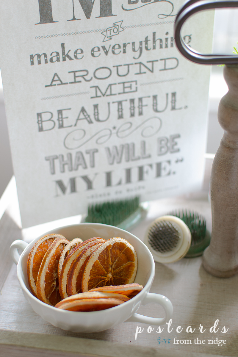 dried oranges in a vintage ironstone sugar bowl with scripted artwork