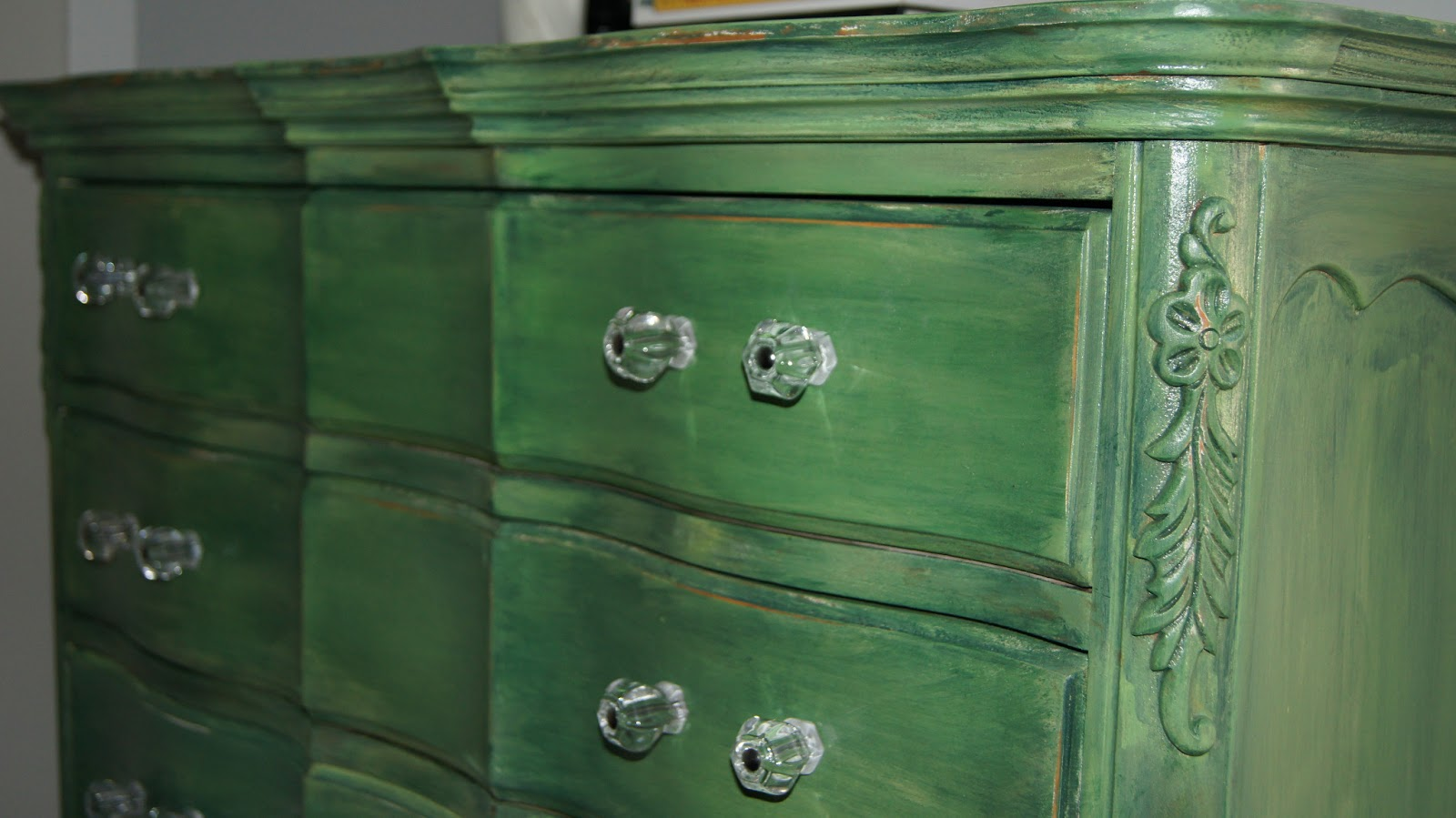Bold Green Dresser Refinishing Furniture With Paint And Stain