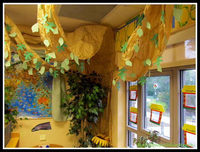 photo of: Three Dimensional Tree inside a Preschool Classroom Corner via RainbowsWithinReach