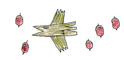 鳥とドングリ [A bird and acorns]