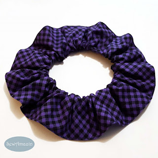 Halloween Pet Scrunchie Ruffle, Purple Checkered Plaid