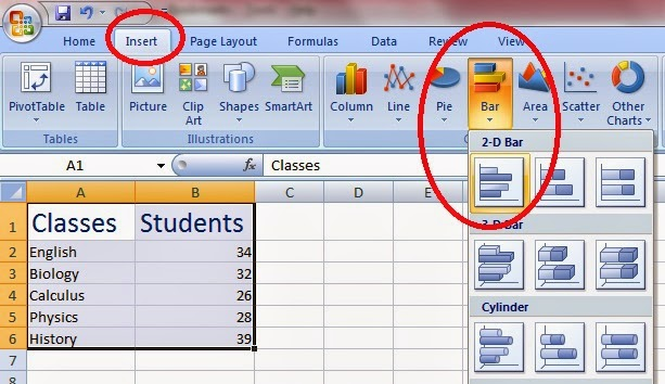 Create Bar Chart in Excel Easily By Example Office 2007