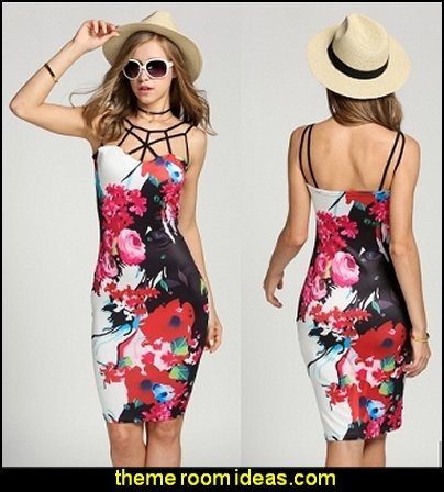 Women Strap Floral Print Bodycon Dress Package Hip Casual Club Mini Pencil Dress