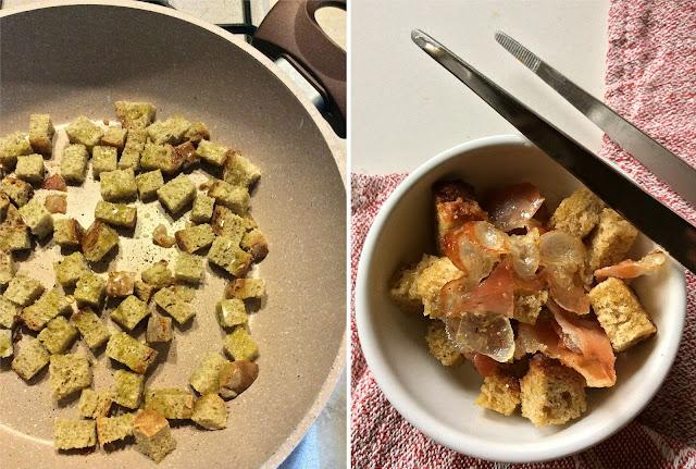 vellutata di ceci e patate con crostini e guanciale croccante