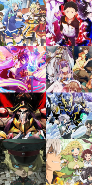 Examples of isekai anime.