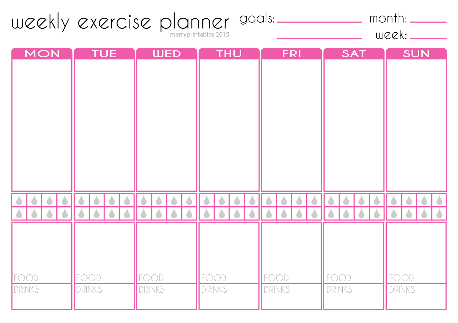 Merryprintables free weekly exercise planner for Weekly fitness plan template