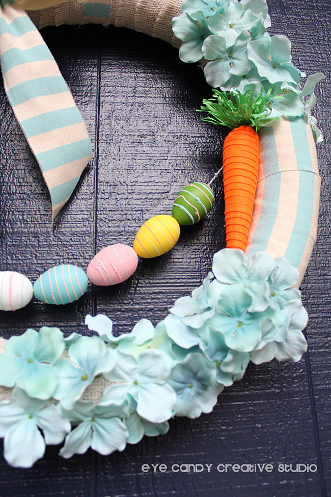 carrot & eggs on easter wreath, supplies for easter wreath, blue stripes