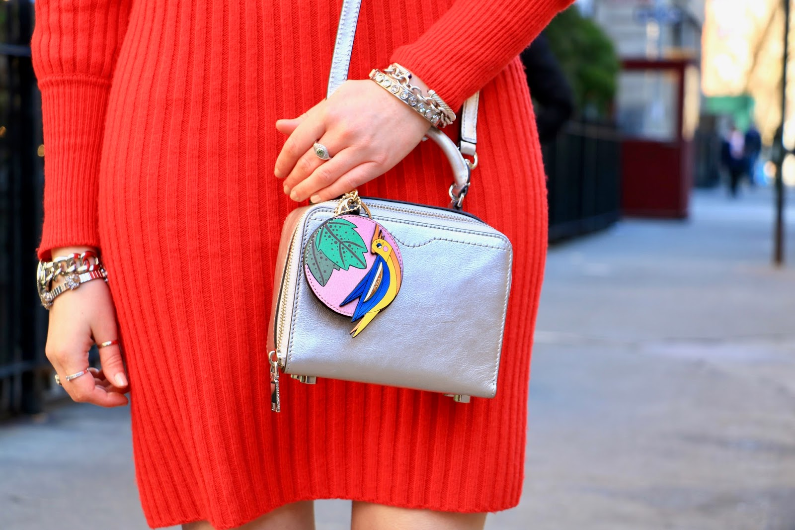 Nyc fashion blogger Kathleen Harper wearing a silver metallic Rebecca Minkoff purse