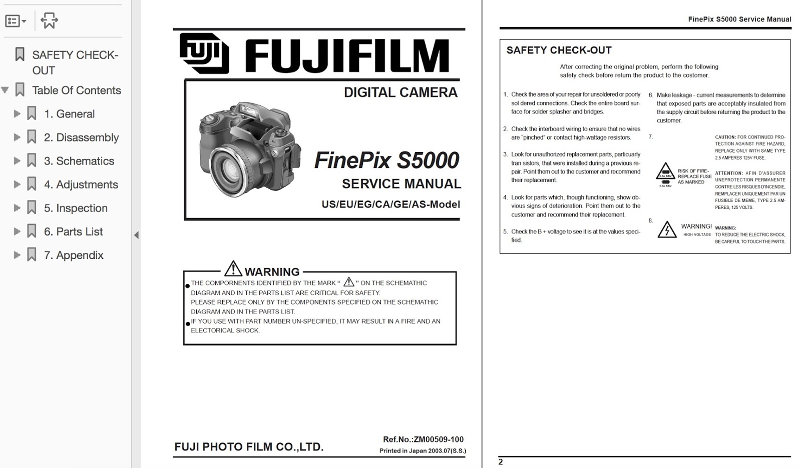 FUJIFILM FinePix S5000 Camera Service Repair Manual