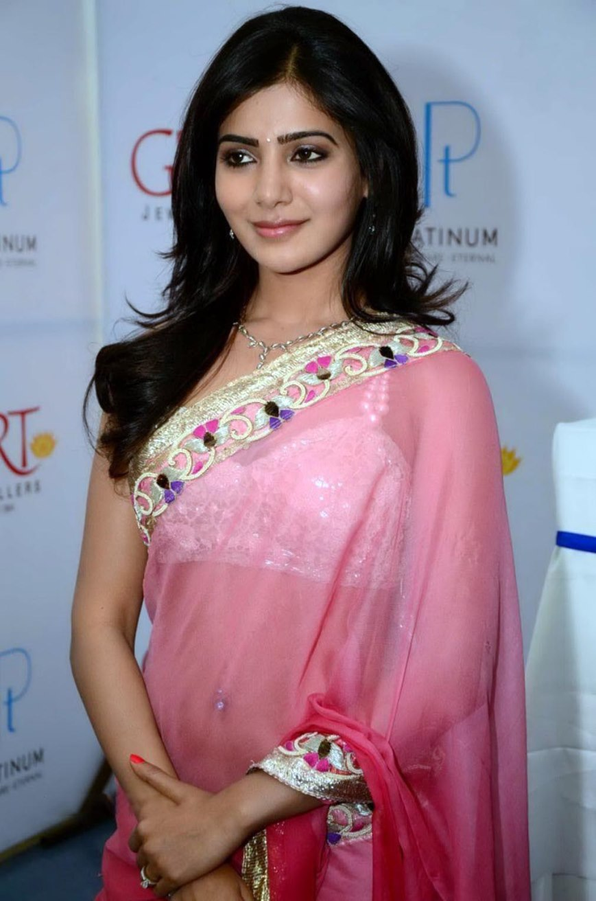Samantha Hot Looking Images In Pink Saree