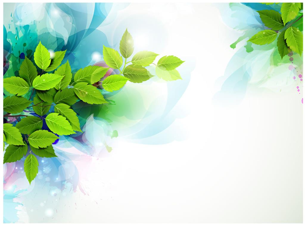 Painted green leaves PPT background