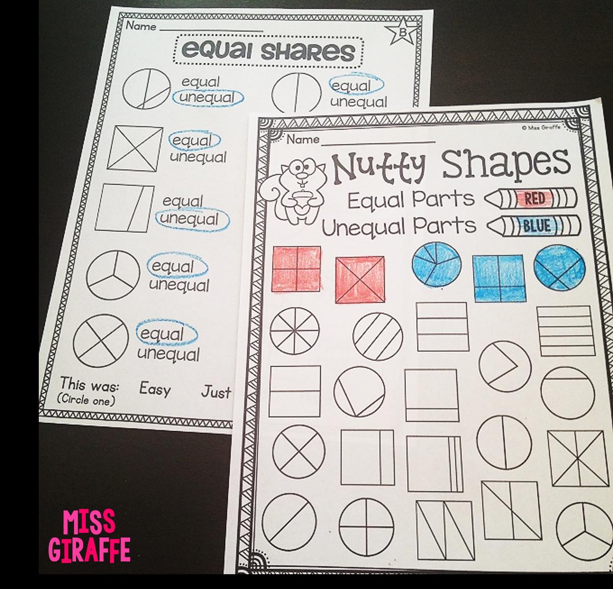 Miss Giraffe's Class: Fractions in First Grade [ 1154 x 1201 Pixel ]