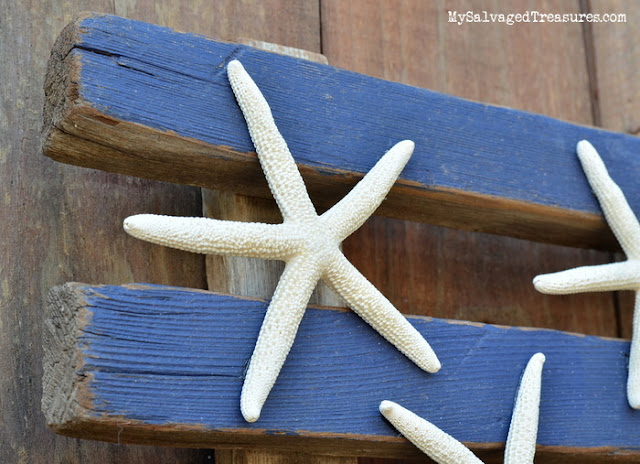 rustic wood flag with starfish upcycled and repurposed