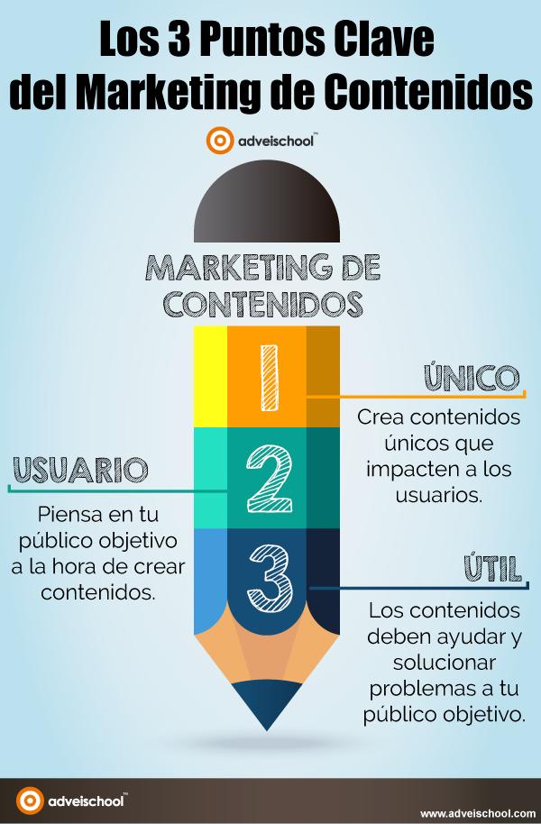 Infografía los 3 puntos claves del Marketing de contenidos.