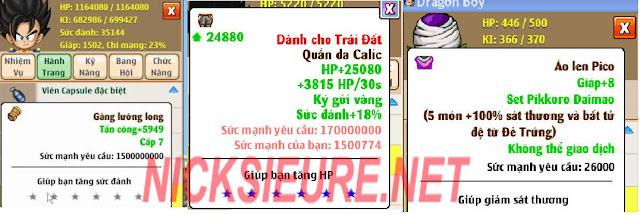 shop bán nick NRO Hồng Ân - set tăng sát thương ngọc rồng online