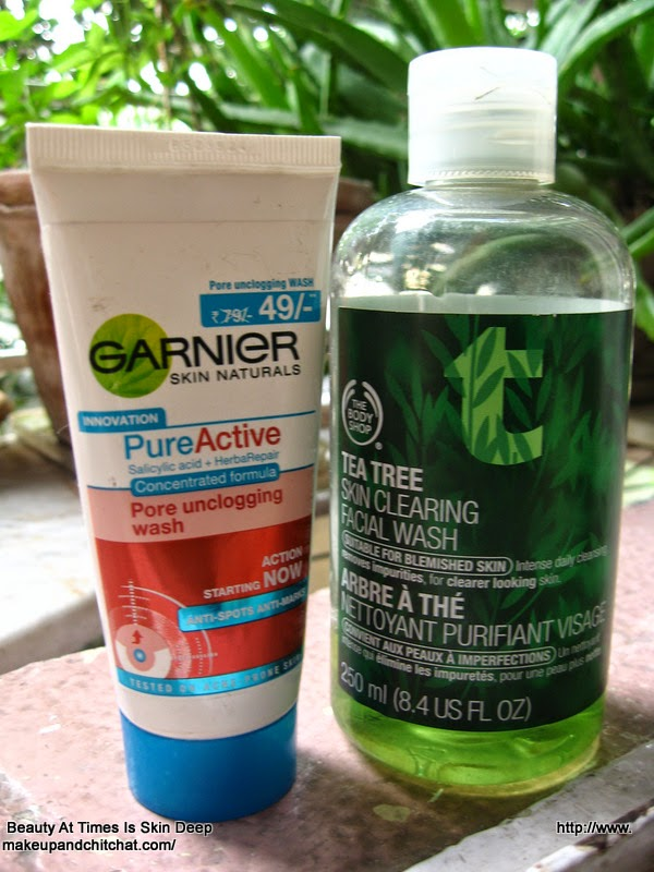 Garnier Pure active Face wash and The Body Shop Tea Tree Face Wash