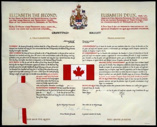 Proclamación de la nueva bandera de Canadá