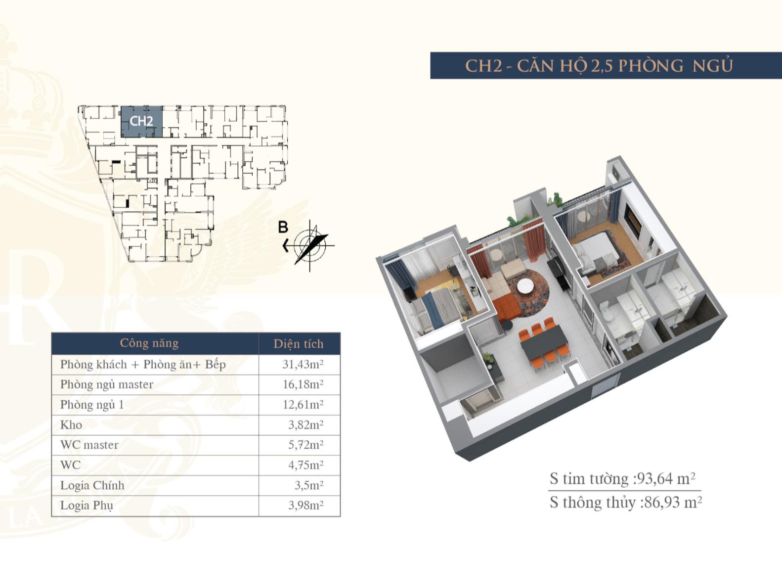 Chi tiết căn hộ 02 chung cư Hateco La Roma