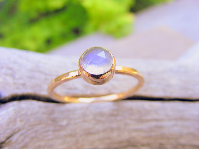 moonstone gold stacking ring