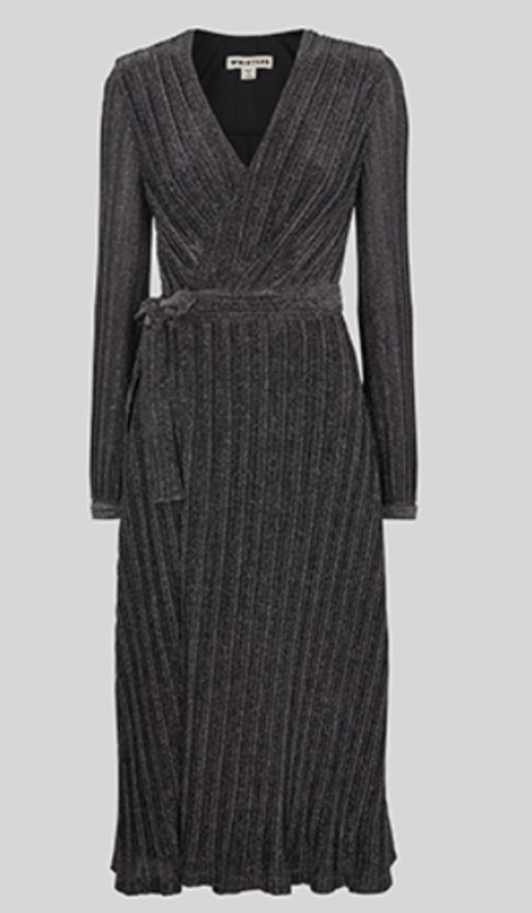 2386060eec Amy shared a terrific Repli-Kate for Kate s green Missoni dress worn in  Belfast. The black Whistles Maia Sparkle Wrap Dress features a very similar  design ...