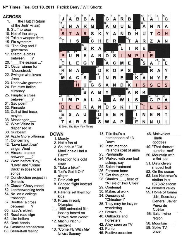 The New York Times Crossword in Gothic: 10.18.11 — The