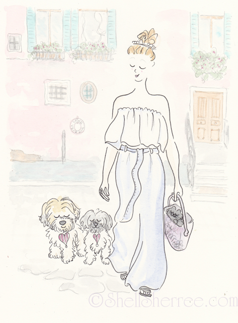 Fashion and Fluffballs illustration: Venetian Pastel & Fluffballs © Shell-Sherree