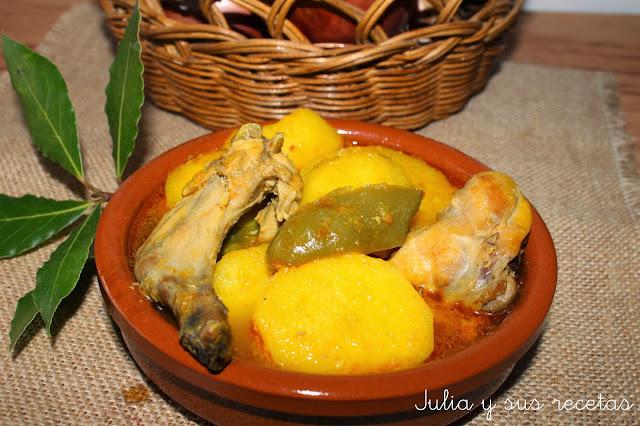 Caldillo de vendimia o patatas con conejo. Julia y sus recetas