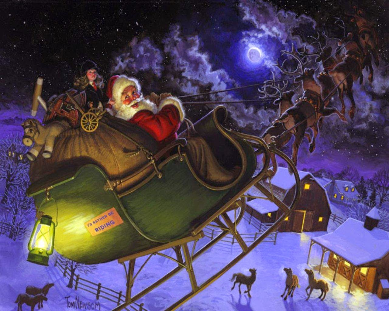 pictures of santa and his sleigh santa claus coming to town riding his reindeer sleigh 3636