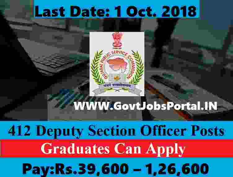 Government jobs for 412 Deputy Section Officers Posts in