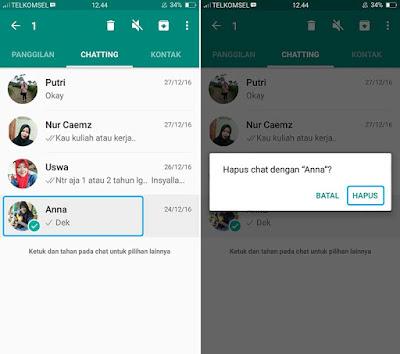 Hapus Chat WhatsApp Satu Persatu