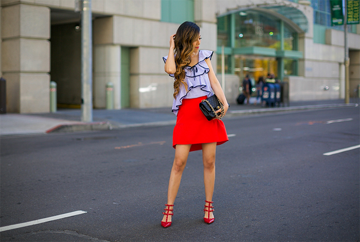 tipped ruffle top, j crew ruffle top, topshop peplum skirt, peplum skirt, valentino rock studs, kendra scott earrings, chanel classic flap bag, summer style, san francisco fashion blog, san francisco street style, summer outfit ideas