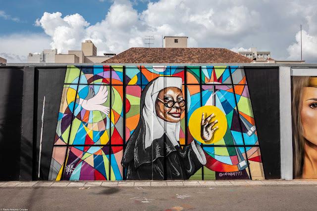 Grafite na Rua Lourenço Pinto de autoria de Cleverson Paes Pacheco (Café)