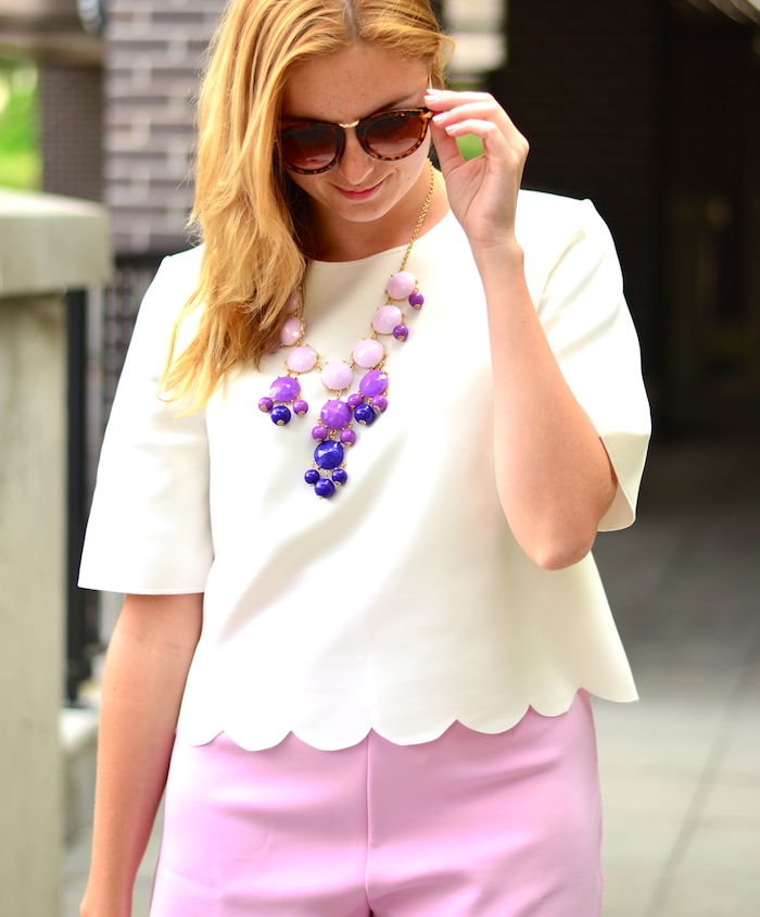 White scalloped Shirt and Pink Scalloped Shorts