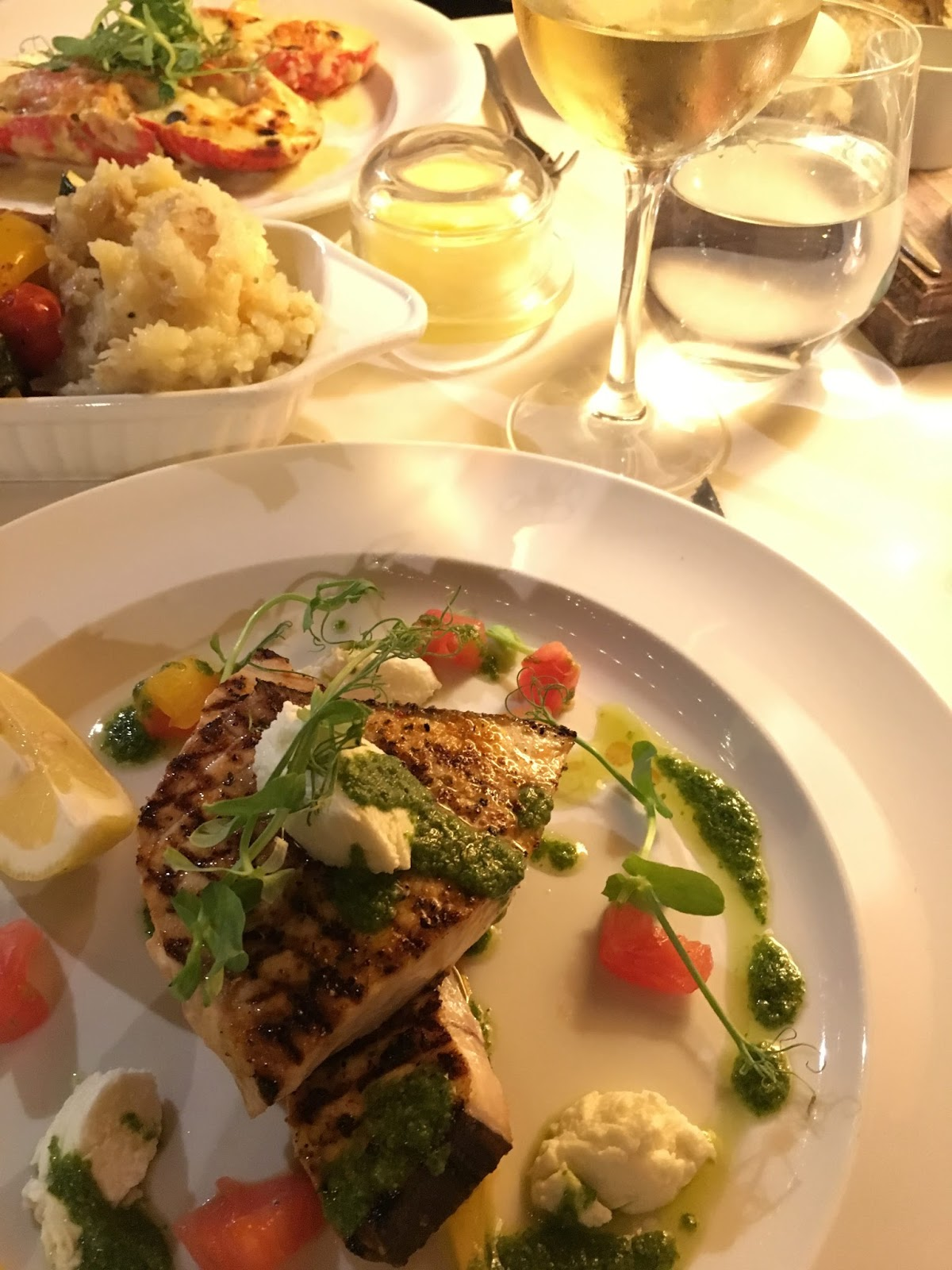 Main courses: swordfish and lobster Thermidor Le Caveau, excellent French restaurant in Skipton, North Yorkshire
