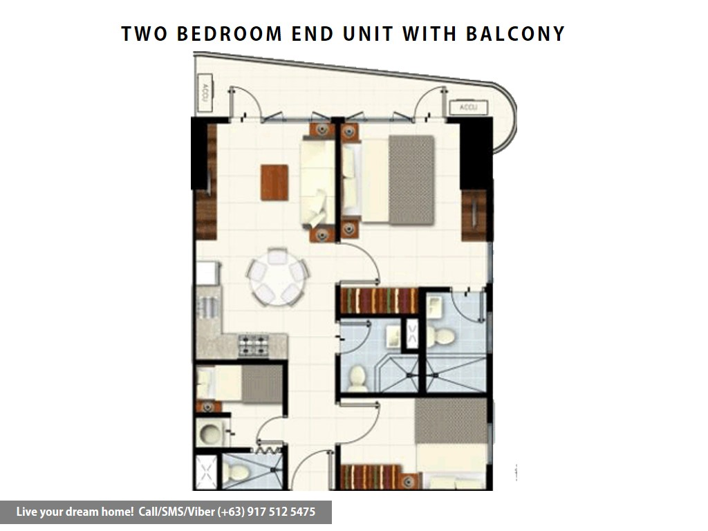 Floor Plan of SMDC Coast Residences - 2 Bedroom End Unit With Balcony | Condominium for Sale Roxas Boulevard Pasay